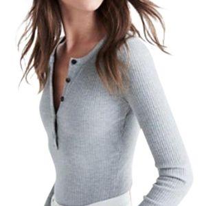 Madewell Demo Henley Bodysuit Grey, L